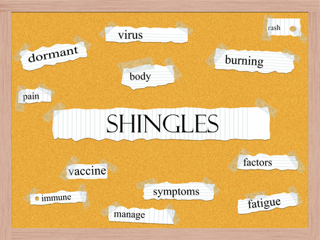 pegboard: Shingles Corkboard Word Concept with great terms such as virus, rash, burning and more.