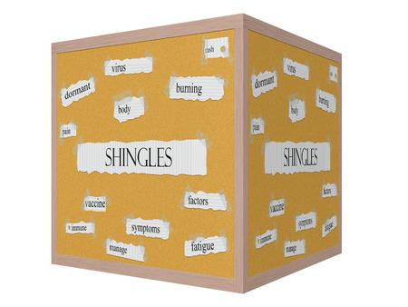 rash: La culebrilla cubo 3D Corkboard Palabra Concepto con los t�rminos tales como virus, erupci�n, ardor y m�s.