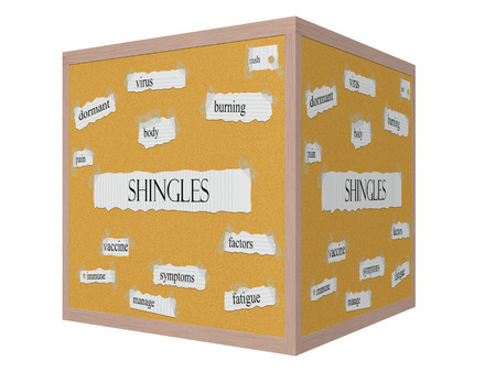 Shingles 3D cube Corkboard Word Concept with great terms such as virus, rash, burning and more.