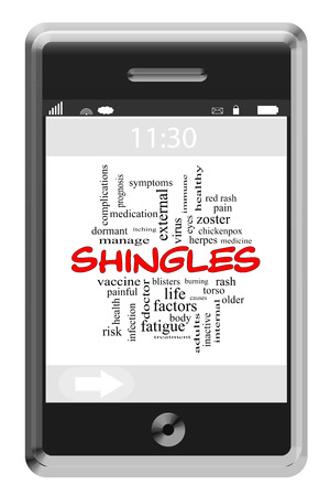 Shingles Word Cloud Concept on a Touchscreen Phone with great terms such as red, rash, vaccine and more.