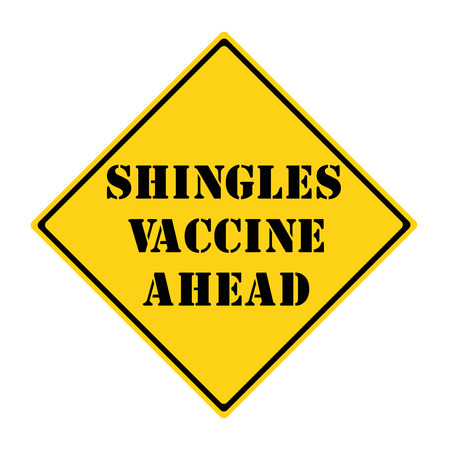 diamond shaped: A yellow and black diamond shaped road sign with the words SHINGLES VACCINE AHEAD making a great concept. Stock Photo