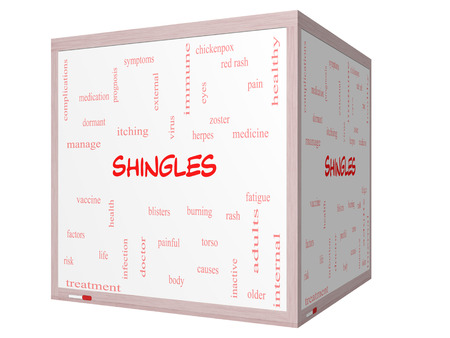 Shingles Word Cloud Concept on a 3D cube Whiteboard with great terms such as virus, itching, vaccine, rash and more. photo