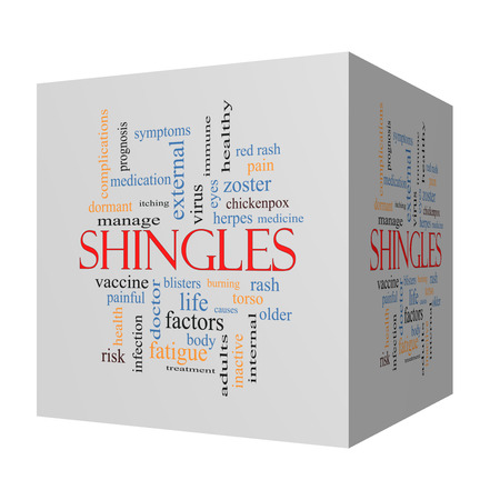 Shingles 3D cube Word Cloud Concept with great terms such as virus, itching, vaccine, rash and more. photo