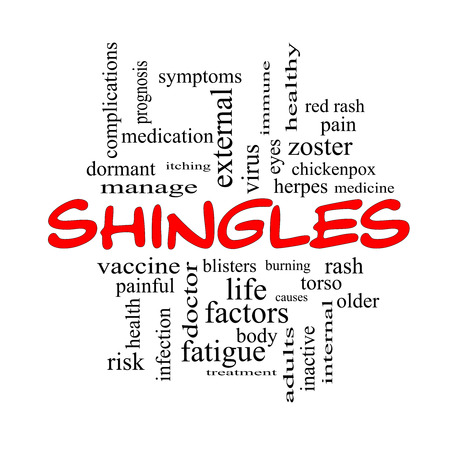 dormant: Shingles Word Cloud Concept in red caps with great terms such as virus, itching, vaccine, rash and more.