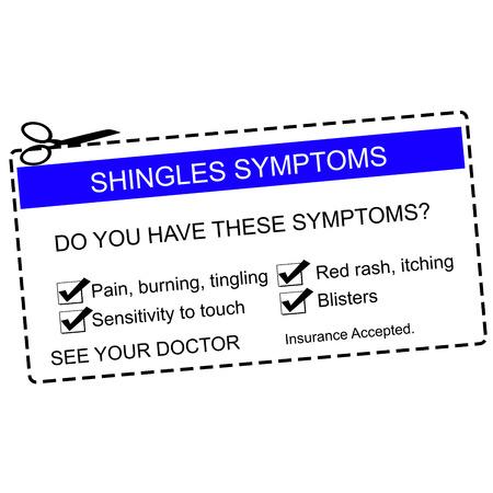 shingles: Los síntomas del herpes Consulte a su médico azul cupón con términos tales como picazón, ampollas, dolor y más. Foto de archivo
