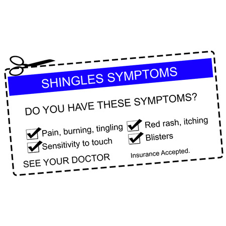 shingles: Shingles Symptoms See Your Doctor blue coupon with terms such as itching, blisters, pain and more.