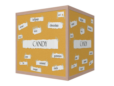 pegboard: Candy 3D Corkboard Word Concept with great terms such as sweet, sour, store and more.