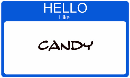 i like: Hello I like Candy written on a blue and whtie Name Tag making a great concept.