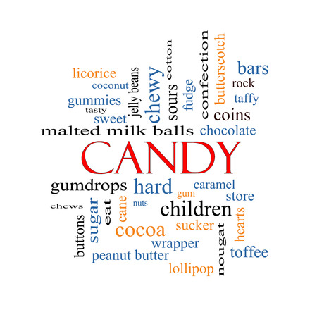 Candy Word Cloud Concept with great terms such as sweet, store, cane, bars and more. photo