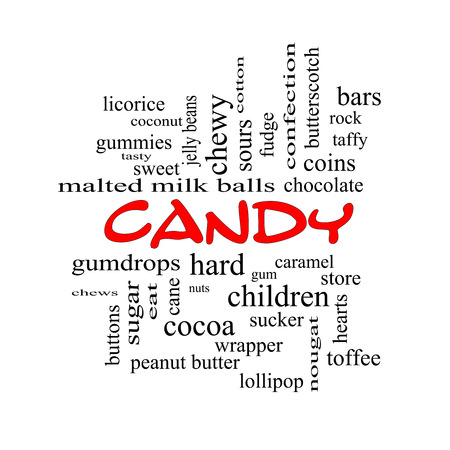 sours: Candy Word Cloud Concept in red caps with great terms such as sweet, store, cane, bars and more.