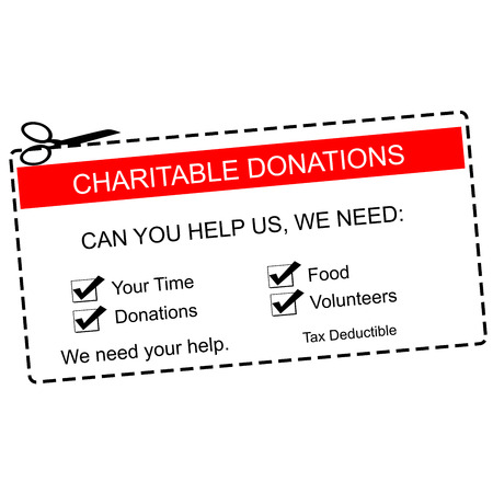 A red and white Charitable Donations Coupon with great terms such as time, food, volunteers and more.