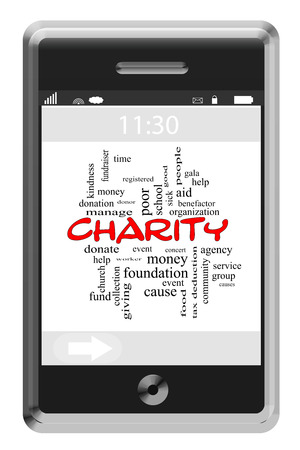 Charity Word Cloud Concept on a Touchscreen Phone with great terms such as time, money, donate and more. photo