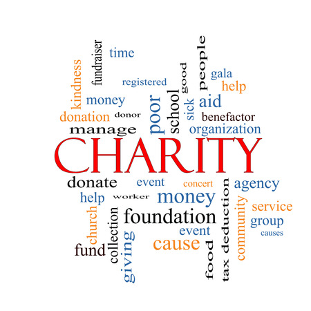 Charity Word Cloud Concept with great terms such as donate, time, money, food and more. photo