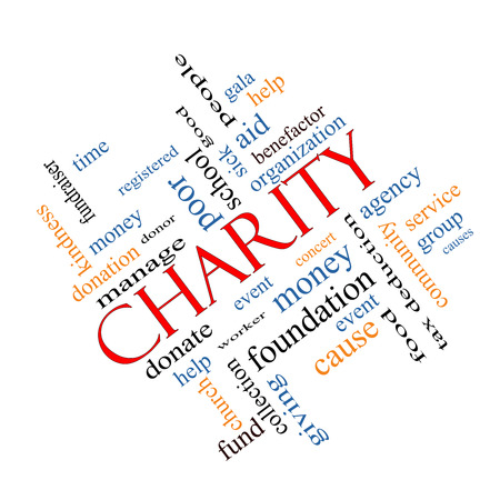 Charity Word Cloud Concept angled with great terms such as donate, time, money, food and more. photo