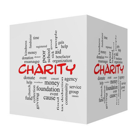 Charity 3D Word Cloud Concept red caps with great terms such as donate, time, money, food and more. photo