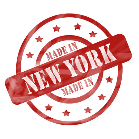 A red ink weathered roughed up circles and stars stamp design with the words MADE IN NEW YORK on it making a great concept.