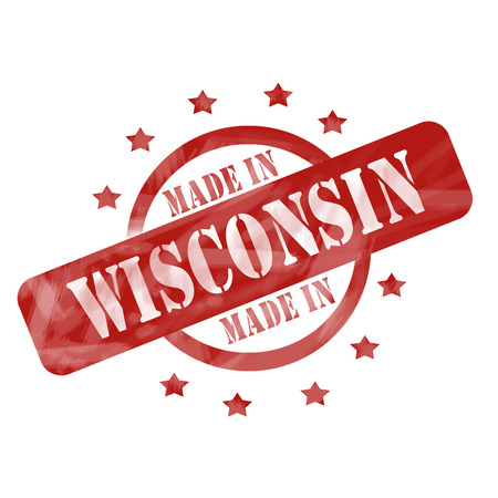 A red ink weathered roughed up circles and stars stamp design with the words MADE IN WISCONSIN on it making a great concept.
