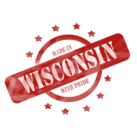 A red ink weathered roughed up circle and stars stamp design with the words MADE IN WISCONSIN WITH PRIDE on it making a great concept.