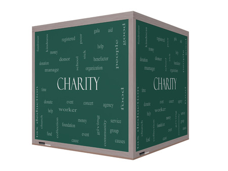 Charity Word Cloud Concept on a 3D cube Blackboard with great terms such as donate, time, money, food and more. photo