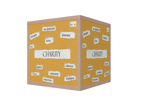 Charity 3D Corkboard Word Concept with great terms such as time, money, help and more.
