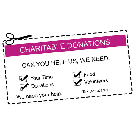 A purple and white Charitable Donations Coupon with great terms such as time, food, volunteers and more. 版權商用圖片