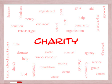 Charity Word Cloud Concept on a Whiteboard with great terms such as donate, time, money, food and more. photo