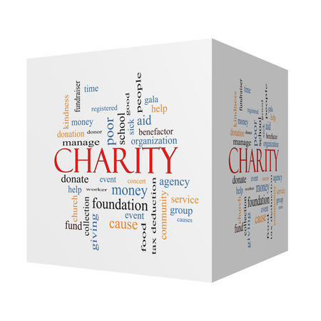 causes: Charity 3D cube Word Cloud Concept with great terms such as donate, time, money, food and more.