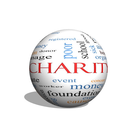 Charity 3D sphere Word Cloud Concept with great terms such as donate, time, money, food and more. photo