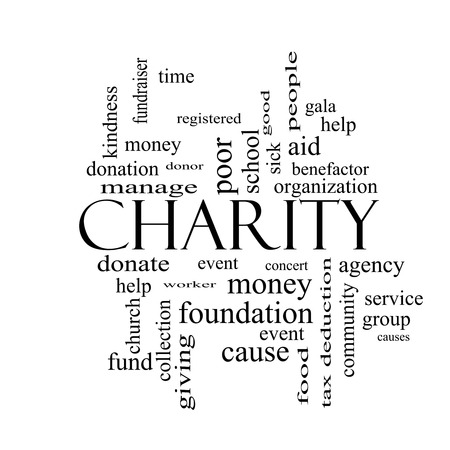 Charity Word Cloud Concept black and white with great terms such as donate, time, money, food and more. photo