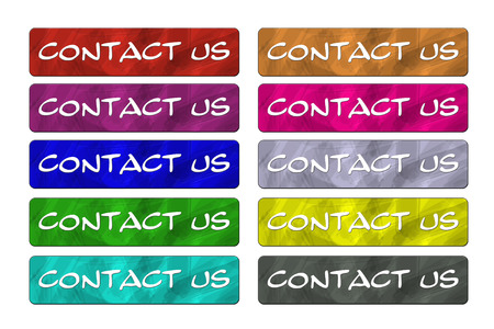 Ten Contact Us Buttons in a variety of colors for your design