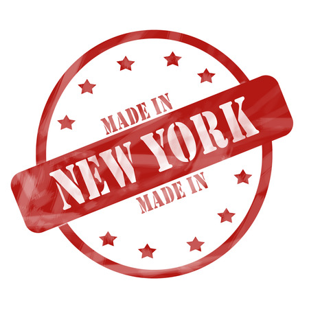 A red ink weathered roughed up circle and stars stamp design with the words MADE IN NEW YORK on it making a great concept. Banco de Imagens