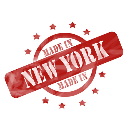 A red ink weathered roughed up circle and stars stamp design with the words MADE IN NEW YORK on it making a great concept. Imagens