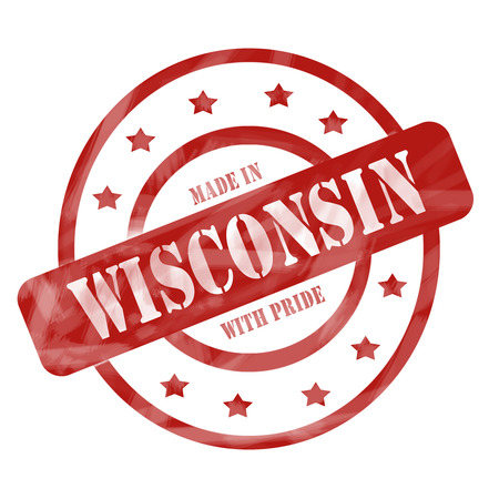 A red ink weathered roughed up circles and stars stamp design with the words MADE IN WISCONSIN WITH PRIDE on it making a great concept. Banco de Imagens