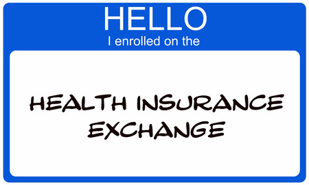 Hello I Enrolled on the Health Insurance Exchange blue name tag making a great concept.