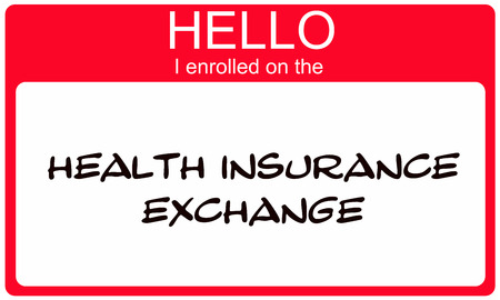 Hello I Enrolled on the Health Insurance Exchange red name tag making a great concept.