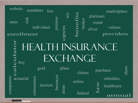 premiums: Health Insurance Exchange Word Cloud Concept on a Blackboard with great terms such as silver, plans, levels, subsidies and more.