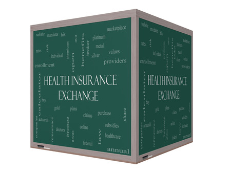 premiums: Health Insurance Exchange Word Cloud Concept on a 3D cube Blackboard with great terms such as silver, plans, levels, subsidies and more.