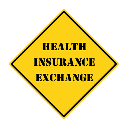 diamond shaped: A yellow and black diamond shaped road sign with the words Health Insurance Exchange making a great concept.