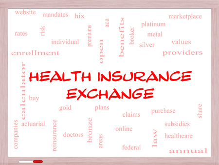 premiums: Health Insurance Exchange Word Cloud Concept on a Whiteboard with great terms such as silver, plans, levels, subsidies and more.
