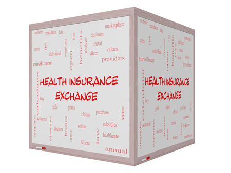 premiums: Health Insurance Exchange Word Cloud Concept on a 3D Whiteboard with great terms such as silver, plans, levels, subsidies and more. Stock Photo