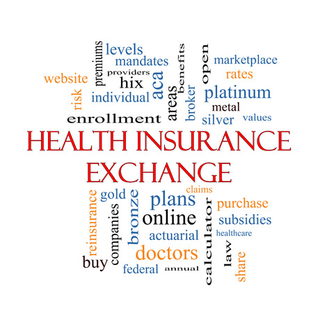 Health Insurance Exchange Word Cloud Concept with great terms such as silver, plans, levels, subsidies and more.
