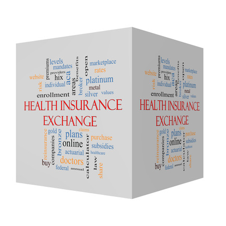 platinum: Health Insurance Exchange 3D cube Word Cloud Concept with great terms such as silver, plans, levels, subsidies and more. Stock Photo