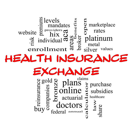 premiums: Health Insurance Exchange Word Cloud Concept in red caps with great terms such as silver, plans, levels, subsidies and more.
