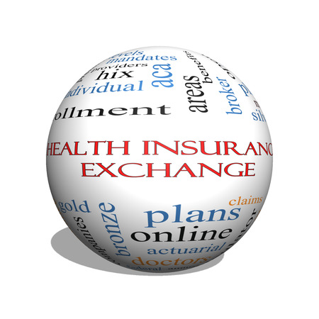 premiums: Health Insurance Exchange 3D sphere Word Cloud Concept with great terms such as silver, plans, levels, subsidies and more. Stock Photo