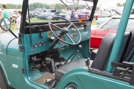 42nd: IOLA, WI - JULY 12:  Inside of 1965 Willys Jeep Car at Iola 42nd Annual Car Show July 12, 2014 in Iola, Wisconsin.