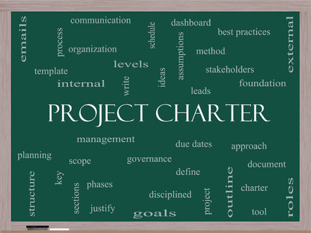 project charter: Project Charter Word Cloud Concept on a Blackboard with great terms such as process, leads, method and more.