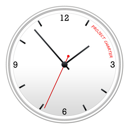 project charter: A white clock with Time for Project Charter making a great concept.