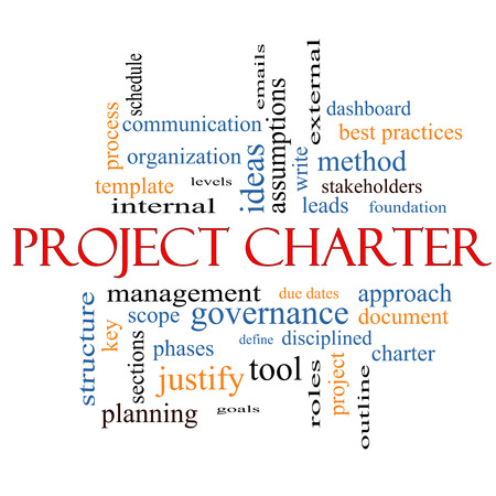 justify: Project Charter Word Cloud Concept with great terms such as process, leads, method and more.