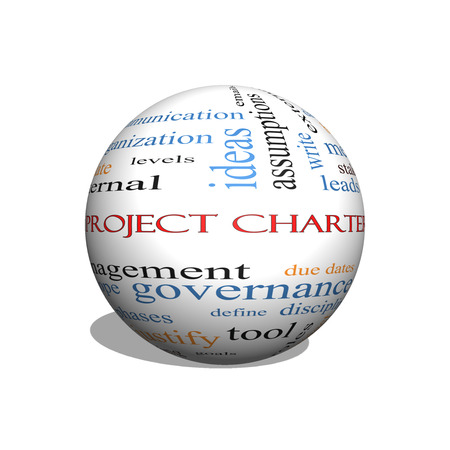 project charter: Project Charter 3D sphere Word Cloud Concept with great terms such as process, leads, method and more. Stock Photo