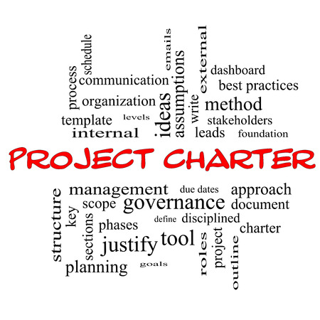 project charter: Project Charter Word Cloud Concept in red caps with great terms such as process, leads, method and more.